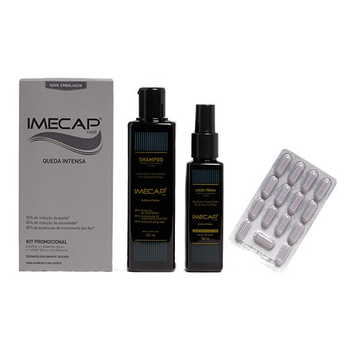 Kit Imecap Hair Queda Intensa Shampoo 300ml + Loção 100ml + 30 Cápsulas
