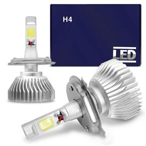 Kit Lâmpada Super LED Headlight H4 6000K 12V e 24V 35W 6400LM Efeito Xênon Carro Moto