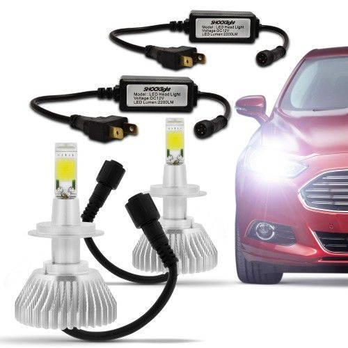 Kit Lâmpada Super LED Headlight H7 6000K 3200LM Efeito Xênon