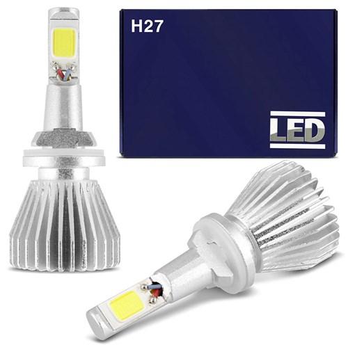 Kit Lâmpada Super Led Headlight H27 6000K 12V 35W 6400Lm Efeito Xenon