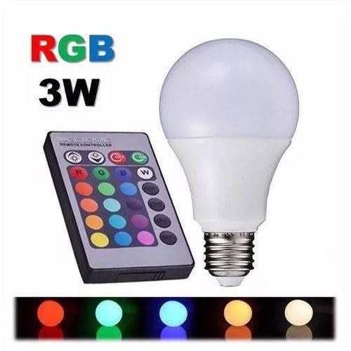 Tudo sobre 'Lâmpada Colorida Led Rgb 3 Bulbo Bivolt E27 Controle Remoto'
