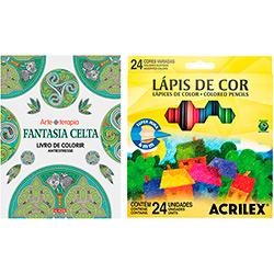 Kit - Livro Fantasia Celta: Livro de Colorir Antiestresse + Lápis de Cor Acrilex Hexagonal 24 Cores