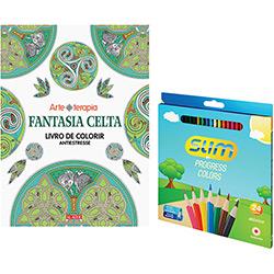 Kit - Livro Fantasia Celta: Livro de Colorir Antiestresse + Lápis de Cor Slim Redondo 24 Cores