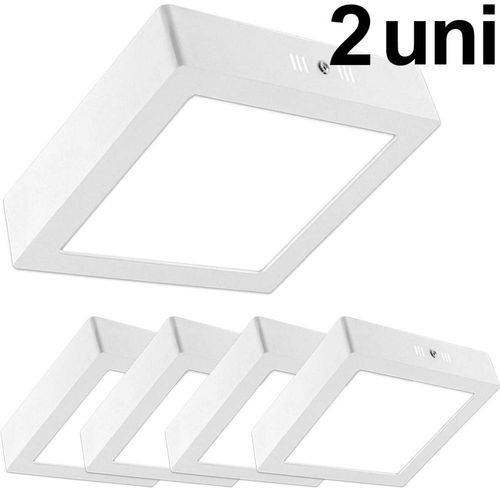 Kit 2 Luminária Plafon Led 25w Sobrepor Quadrado Branco Frio