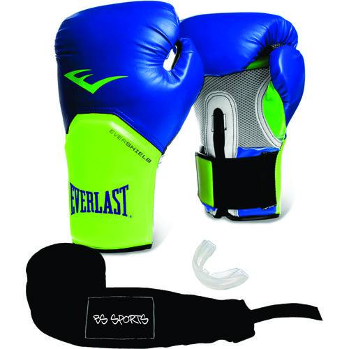 Kit Luva Everlast Pro Style Elite Azul 14oz Bandagem/Bucal