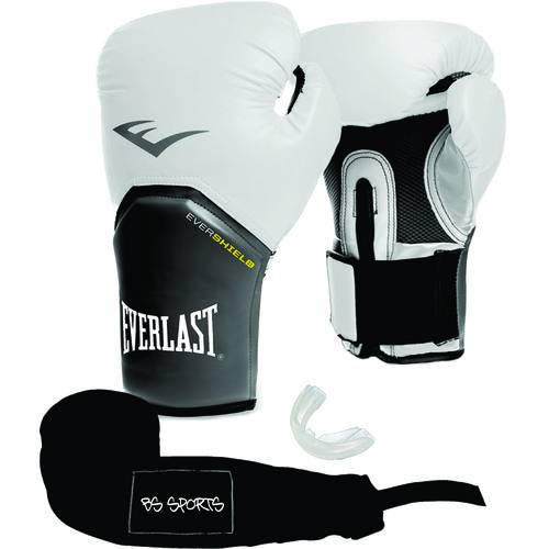 Kit Luva Everlast Pro Style Elite Branca 14oz Bandagem/bucal