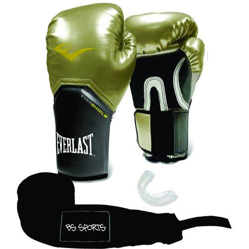 Kit Luva Everlast Prostyle Elite Dourada 10oz Bandagem/bucal