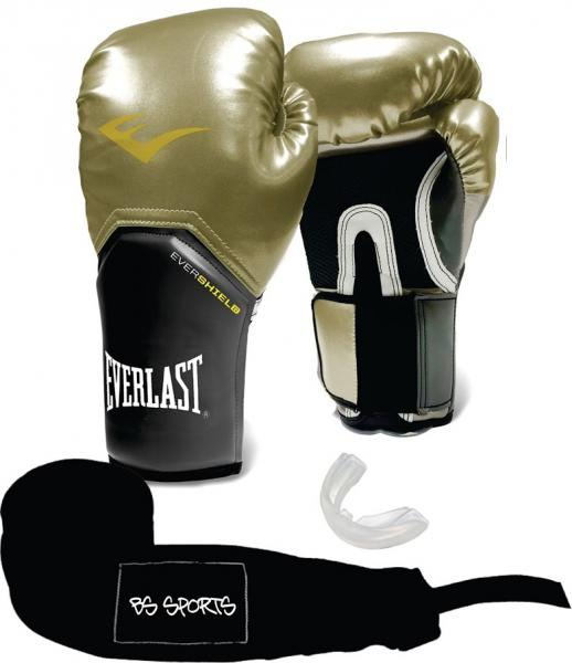 Kit Luva Everlast ProStyle Elite Dourada 14oz Bandagem/Bucal