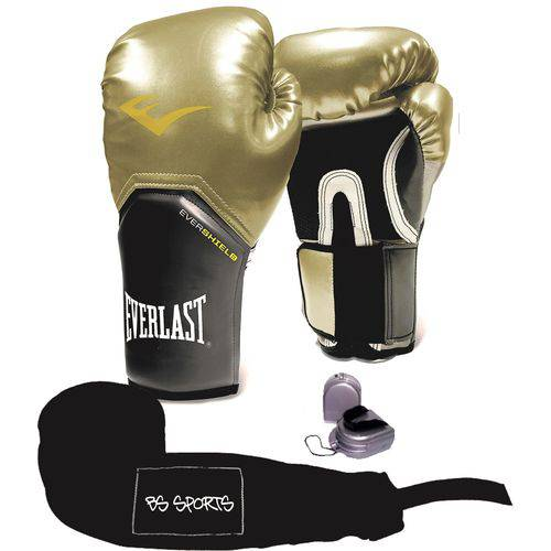 Kit Luva Everlast Prostyle Elite Dourada 12oz Bandagem/bucal