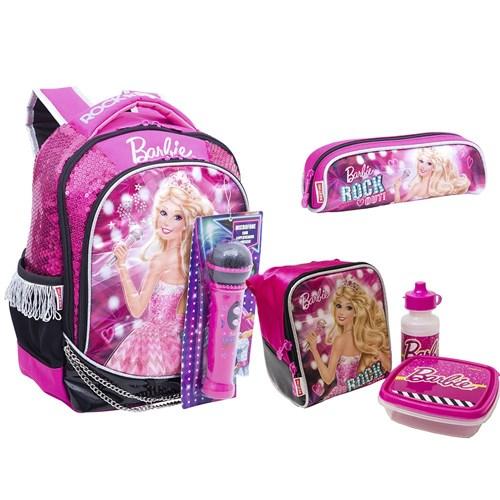 Kit Mochila M Barbie Rock N Royals Rosa + Lancheira + Estojo