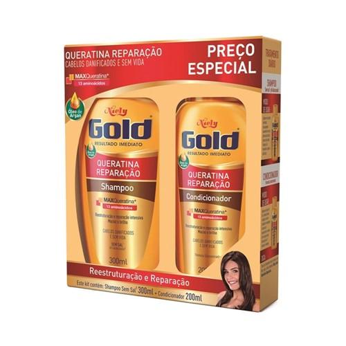 Kit Niely Gold S/ Sal Shampoo 300ml + Condicionador 200ml