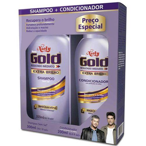 Kit Niely Gold Shampoo 300ml + Condicionador 200ml MAXQueratina Extra Brilho