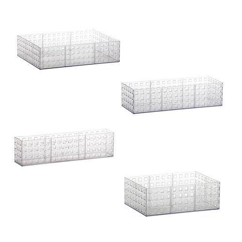 Kit Organizadores Quadratta Cristal 4 Peças