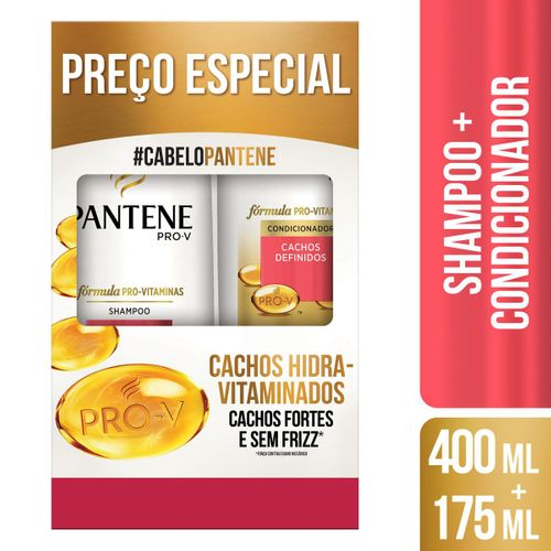 Kit Pantene Cachos Hidra-Vitaminados Shampoo 400ml + Condicionador 175ml