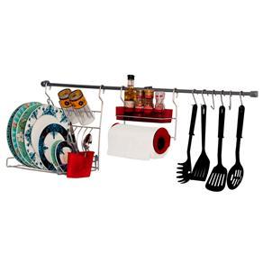 Kit para Cozinha Metaltru - 11 Peças - Cromo/Vermelho