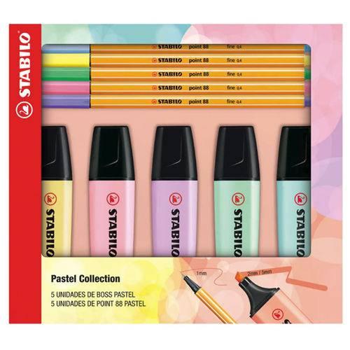 Tudo sobre 'Kit Pastel Collection 5 Boss + 5 Point 88 Stabilo'
