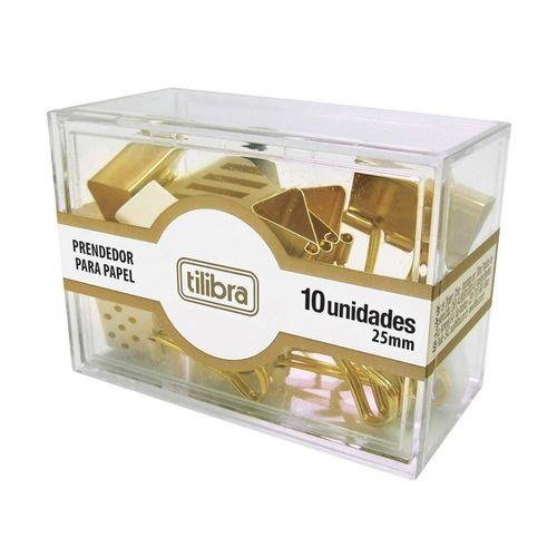 Tudo sobre 'Kit Prendedor de Papel Dourado com 10 Unidades'