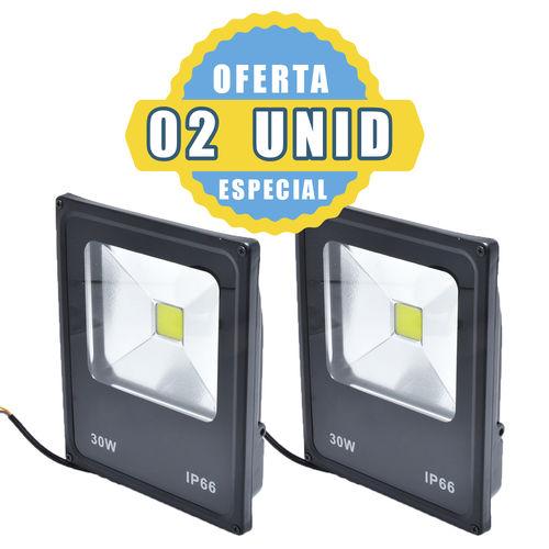 Kit 2 Refletor Holofote Led 30w Branco Quente 3000K