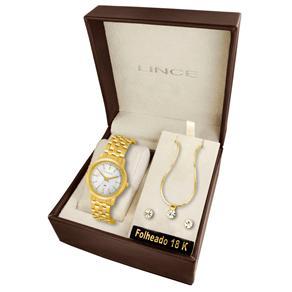 Kit Relógio Feminino Analógico Lince Fashion LRG4255L K069B1KX Dourado com Conjunto de Par de Brincos e Colar