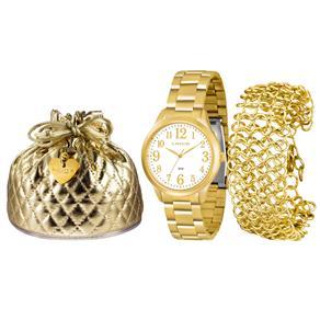 Kit Relógio Feminino Analógico Lince Fashion LRG4262LK072B2K Dourado e Pulseira