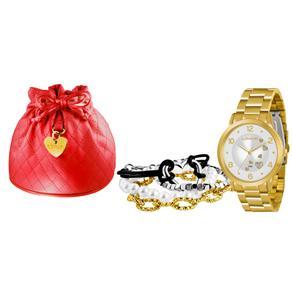 Kit Relógio Feminino Analógico Lince Fashion LRG4272LK076S2KX Dourado e 4 Pulseiras Adorno