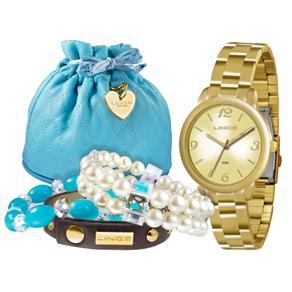 Kit Relógio Feminino Analógico Lince LRG4297L K098C2KX Dourado e Três Pulseiras Adorno Avulsas