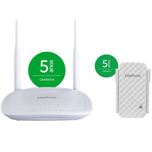 Kit Roteador + Repetidor de Sinal Wireless Wi-Fi 300 Mpbs IWR 3000 N Intelbras