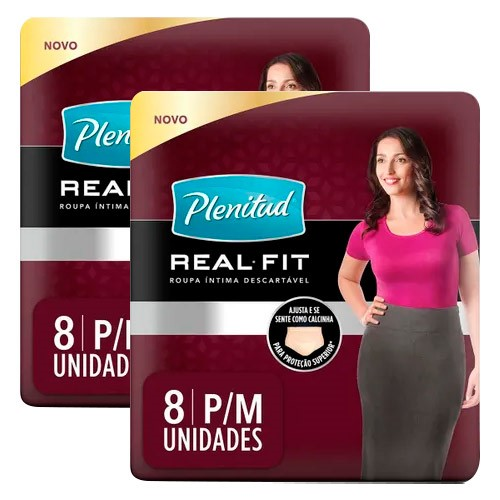 Kit Roupa Íntima Descartável Plenitud Real Fit Feminina P/M 8 Unidades 2 Unidades