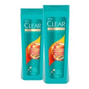 Kit 2 Shampoo Anticaspa Clear Scalpfoods Detox Antipoluição 200ml