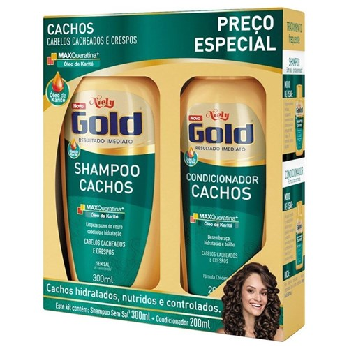 Kit Shampoo + Condicionador Niely Gold Cachos
