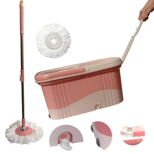 Kit Spin Mop Balde Esfregao Centrifugador com Rodinhas e Dispenser + Refis Tssaper