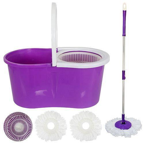 Kit Spin Mop de Limpeza com Esfregao Balde Centrifugador Mop com Rotação 360 + Refil S-6