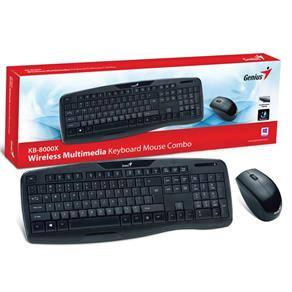 Kit Teclado e Mouse Wireless Genius 31340005113 Kb-8000X Usb 2.4 Ghz Preto 1200Dpi