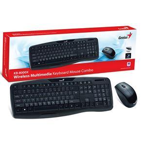 Kit Teclado e Mouse Wireless Genius KB-8000X 1200 Dpi