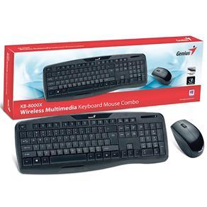 Kit Teclado e Mouse Wireless Usb Preto Kb-8000x Genius