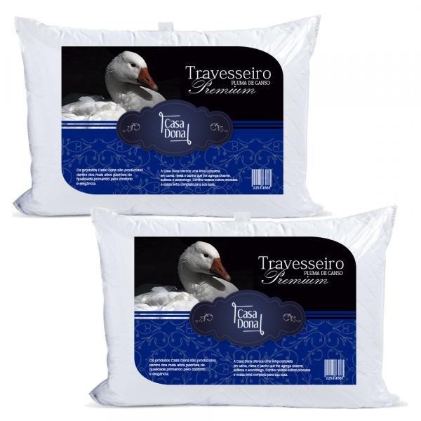 Tudo sobre 'Kit 2 Travesseiros Pluma de Ganso Premium 50x70cm Casa Dona 200 Fios Branco'