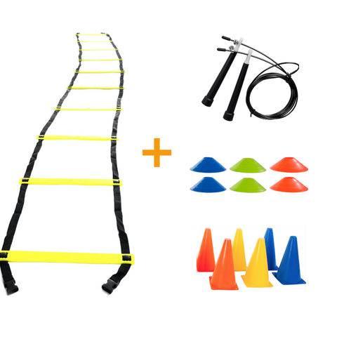 Tudo sobre 'Kit Treino Funcional Escada Agilidade Cones e Corda de Pular'