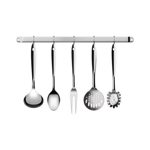 Tudo sobre 'Kit Utensílios de Cozinha Cono Inox com Suporte 6 Peças Euro IN2704'