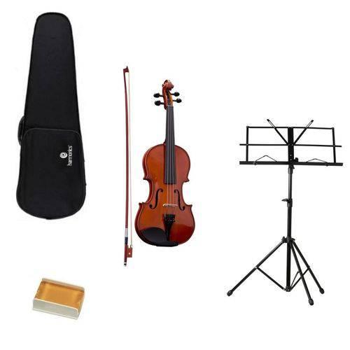Kit Violino 4/4 Va-10 Harmonics + Suporte para Partitura + Case + Arco Crina Sintética + Breu