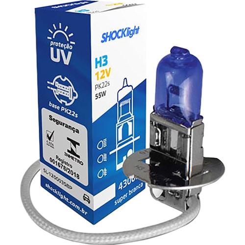 Lâmpada Super Branca 12V 55W Unitário - H3 - Shocklight