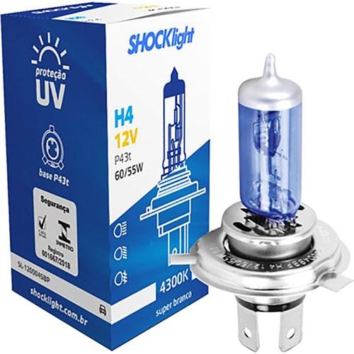Lâmpada Super Branca 12V 60/ 55W Unitário - H4 - Shocklight