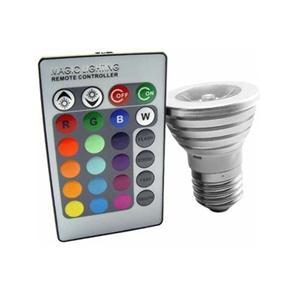 Lâmpada Super LED RGB 3w E-27 Bivolt Controle Remoto - 100 ~ 240V AC Bivolt