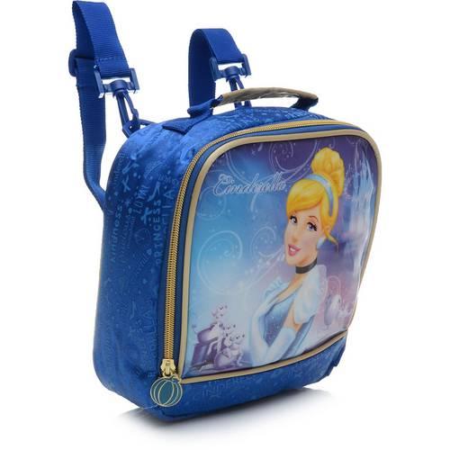 Lancheira Infantil Dermiwil Soft Cinderela Lights Azul Princesas