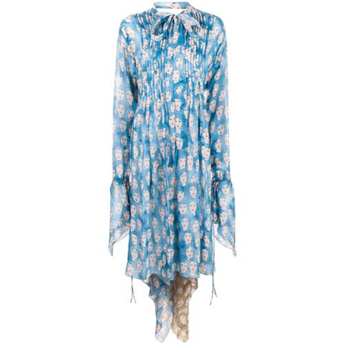 LANVIN Vestido Estampado com Amarração - Azul