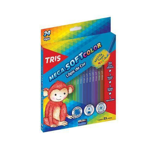 Lápis 24 Cores Tris Mega Soft + Apontador