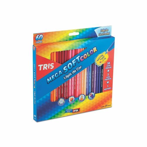 Lápis Cor Tris Mega Soft Color 60 Cores + Apontador