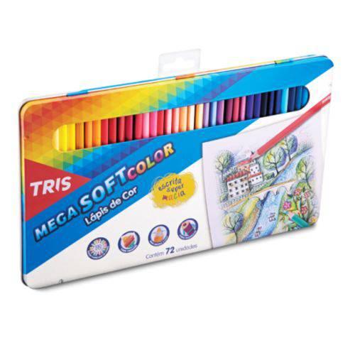 Lapis Cor Tris Mega Soft Color 72 Cores + Estojo Lata