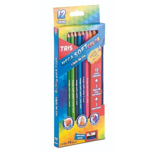 Lapis de Cor 12 Cores Tris Mega Soft Color + Apontador + Lapis Hb(Tris...