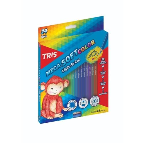 Lapis de Cor 24 Cores Tris Mega Soft Color + Apontador (Tris)
