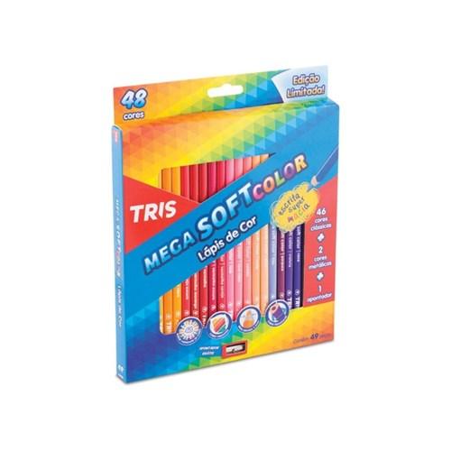 Lapis de Cor 48 Cores Tris Mega Soft Color + Apontador (Tris)